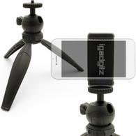 iGadgitz Lightweight Mini Table Top Tripod Stand with Smartphone Holder Mount Bracket Adapter - Black