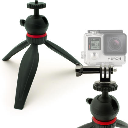 iGadgitz Lightweight Mini Table Top Tripod Stand with GoPro Holder Mount Bracket Adapter - Black Thumbnail 1