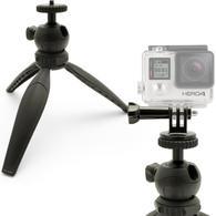 iGadgitz Lightweight Mini Table Top Tripod Stand with GoPro Holder Mount Bracket Adapter - Black
