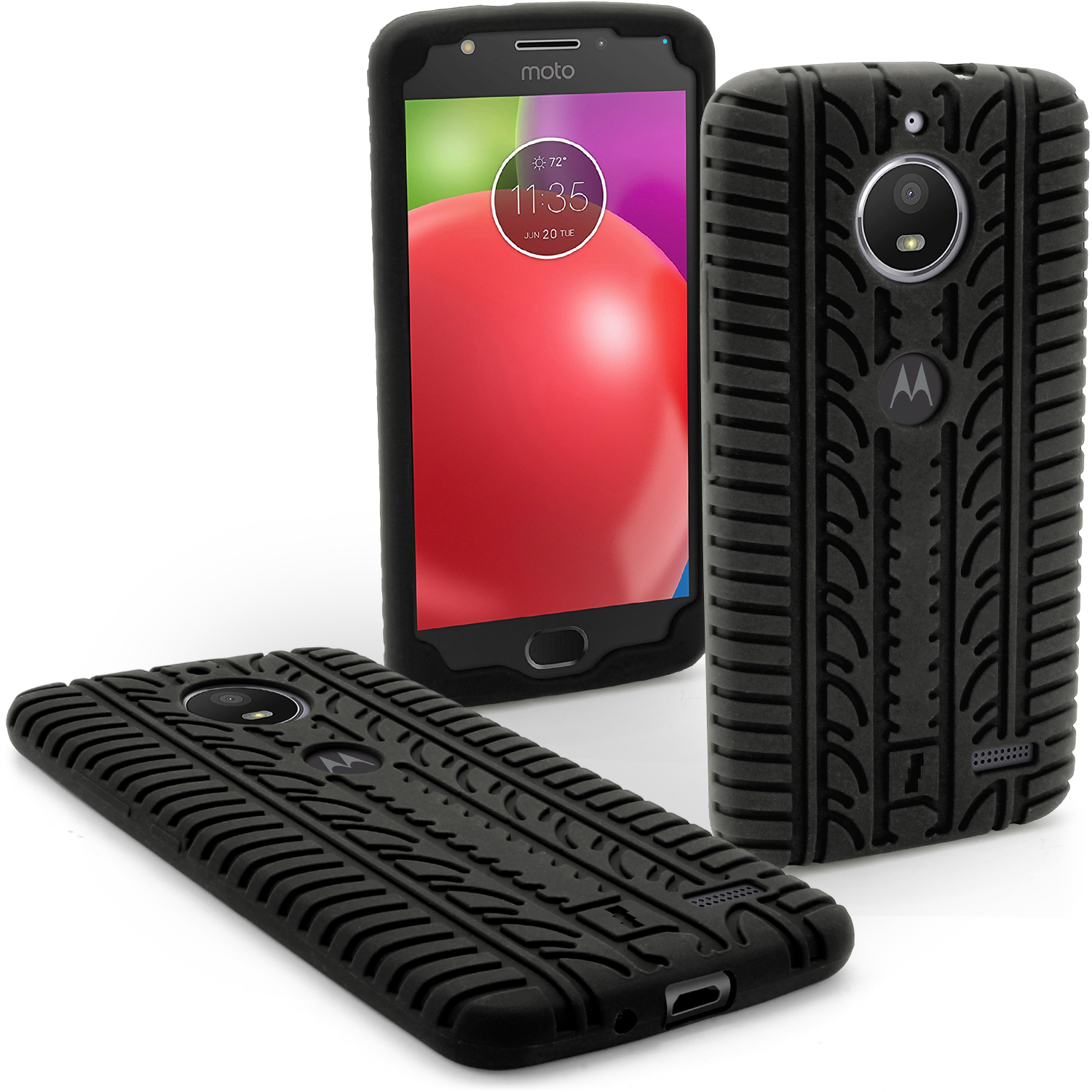 iGadgitz Black Tyre Tread Silicone Rubber Gel Skin Case Cover for Motorola Moto E4 2017 (Not US Model) +Screen Protector