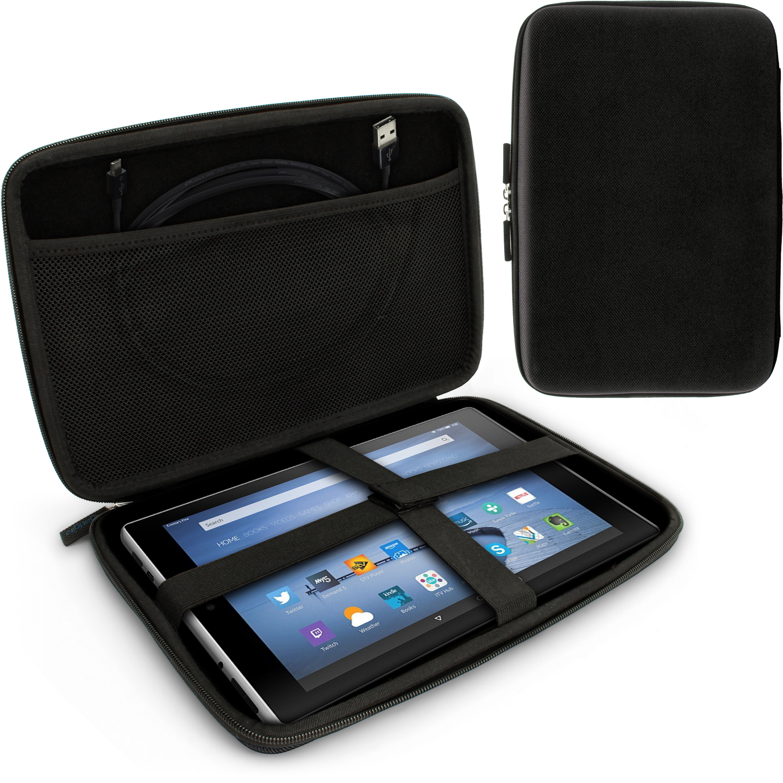 "iGadgitz Black EVA Zipper Travel Hard Case Cover Sleeve for Amazon Fire HD 10.1"""