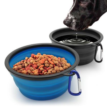 iGadgitz Home Large Foldable Travel Silicone Dog Bowl Food Water Feeding Portable Dish for Pet Thumbnail 4