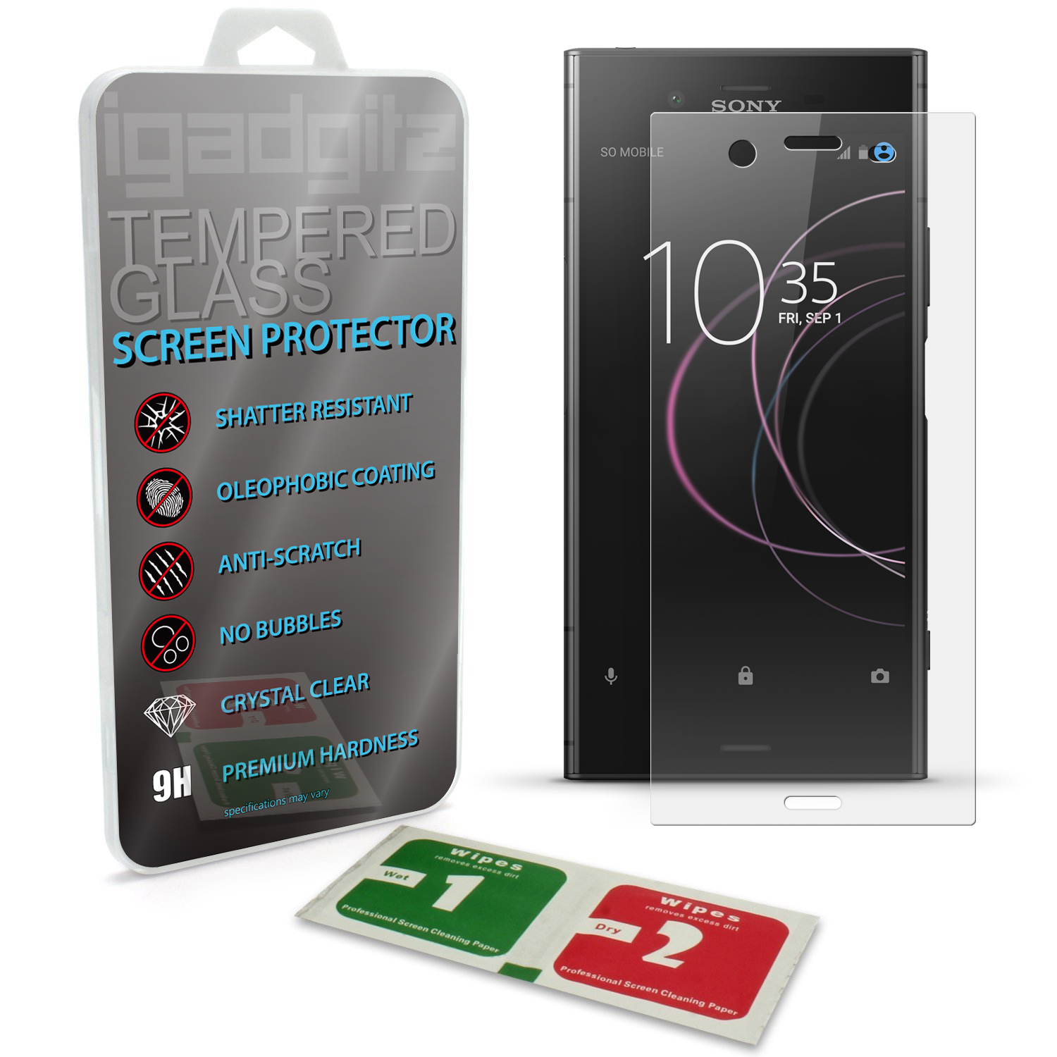 iGadgitz Tempered Glass Screen Protector for Sony Xperia XZ1 Shatterproof 9H Hardness Anti Scratch
