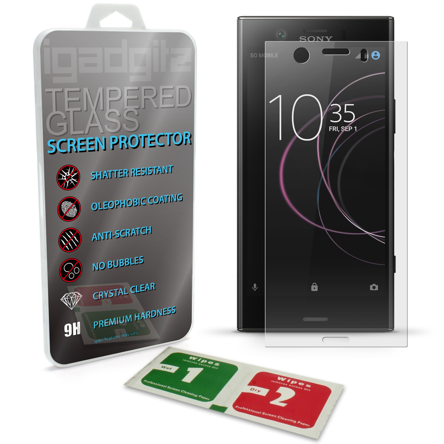 iGadgitz Tempered Glass Screen Protector for Sony Xperia XZ1 Compact Shatterproof 9H Hardness Anti Scratch