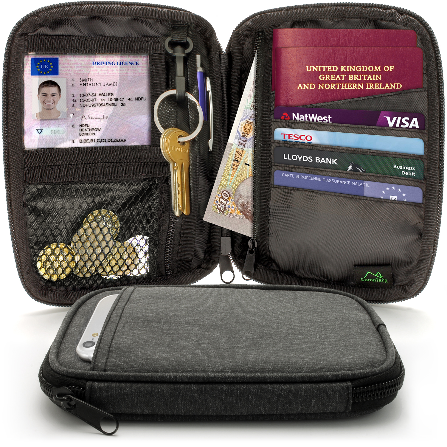 CampTeck Small Travel Wallet Passport Holder & RFID Organiser Pouch for Cards, IDs,  Money, Ticket, Key, Smartphone etc.