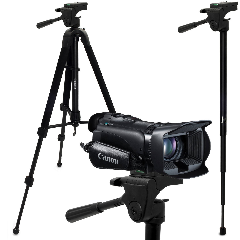 "iGadgitz 150cm (59"") 2 in 1 Aluminium Tripod & Monopod for Canon Legria HF G25, HF R66, HF R506 G30 High Def Camcorders"