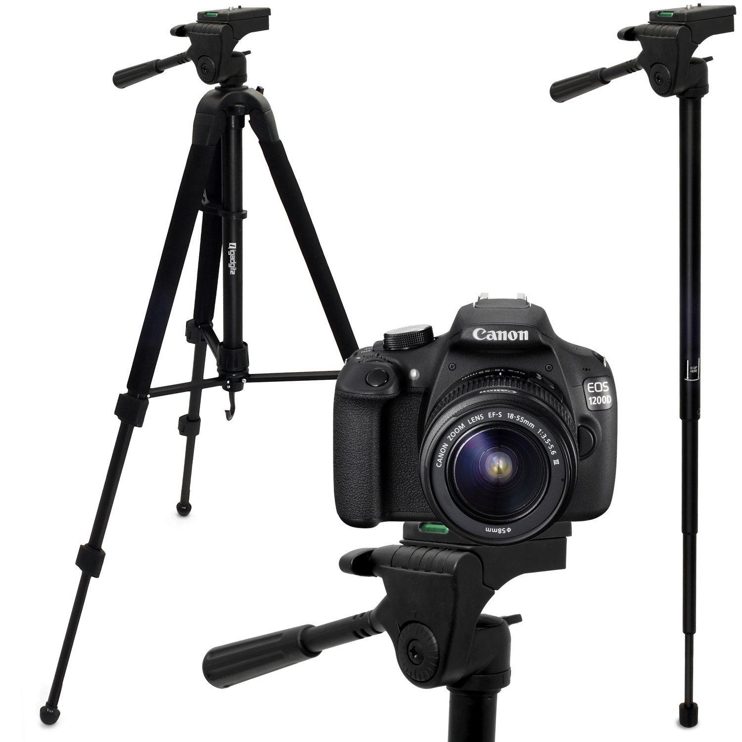 "iGadgitz 150cm 59"" 2 in 1 Combined Tripod & Monopod for Canon R 5DS 60Da 650D 6D 700D 70D 750D 760D 80D M10 M3 Cameras"