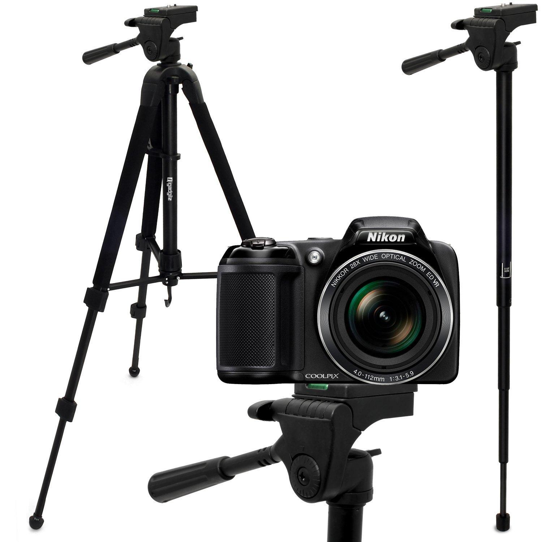 "iGadgitz 150cm (59"") 2 in 1 Aluminium Tripod & Monopod for Nikon Cameras 1 V1 Coolpix L820 L830 P520 P530 P600 P610 P900"