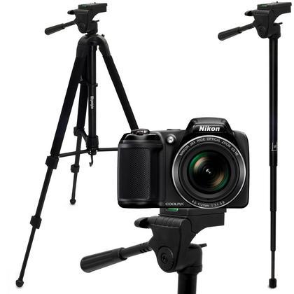 "iGadgitz 150cm (59"") 2 in 1 Aluminium Tripod & Monopod for Nikon Cameras 1 V1 Coolpix L820 L830 P520 P530 P600 P610 P900 Thumbnail 1"