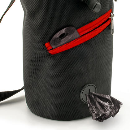 CampTeck Dog Training Bag Waist Drawstring Dog Treat Pouch with Built-In Poo Waste Bags Dispenser ? Black Thumbnail 2