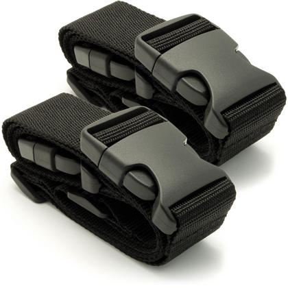CampTeck Small Travel Luggage Straps Short Adjustable Connect Suitcase Belt Add On Attachment ? Black, 1 Pair Thumbnail 1