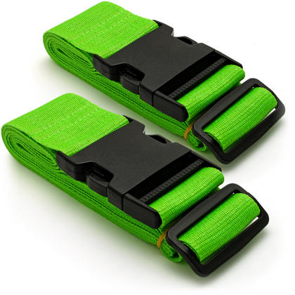 CampTeck Long Travel Luggage Straps Adjustable Suitcase Safety Belts? Green, 1 Pair Thumbnail 1
