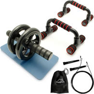 CampTeck  Push Up Bars Stand, 10ft Speed Skipping Rope & Ab Roller Wheel Abdominal for Strength & Abdominal Training