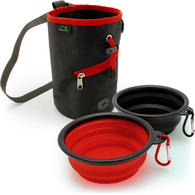 CampTeck U6762 ? 2x Foldable Travel Silicone Dog Bowl Portable Dish & Dog Training Bag Waist Drawstring Dog Treat Pouch