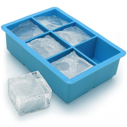 iGadgitz Home Silicone Ice Cube Tray 6 Extra Large Square Food Grade Jumbo Ice Cube Moulds - Pack of 1 Thumbnail 1