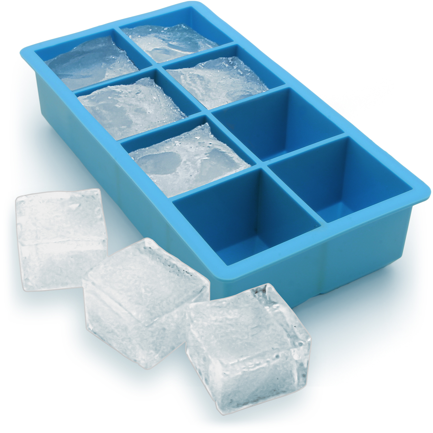 iGadgitz Home Silicone Ice Cube Tray 8 Extra Large Square Food Grade Jumbo Ice Cube Moulds
