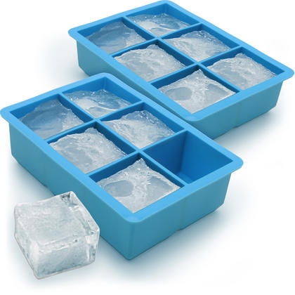 iGadgitz Home Silicone Ice Cube Tray 6 Extra Large Square Food Grade Jumbo Ice Cube Moulds - Pack of 2 Thumbnail 1