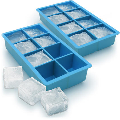 iGadgitz Home Silicone Ice Cube Tray 8 Extra Large Square Food Grade Jumbo Ice Cube Moulds - Pack of 2 Thumbnail 1
