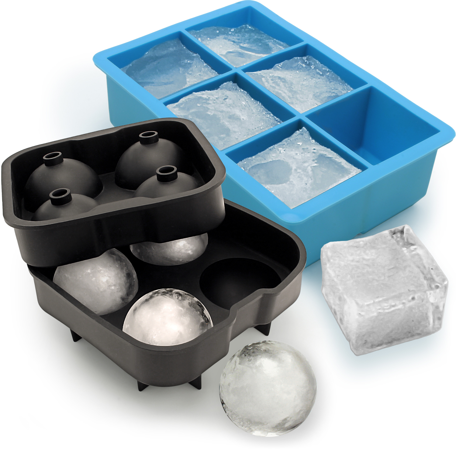 Igadgitz Home Silicone Ice Cube Tray 6x Extra Large Square Ball Mould 4x Sphere