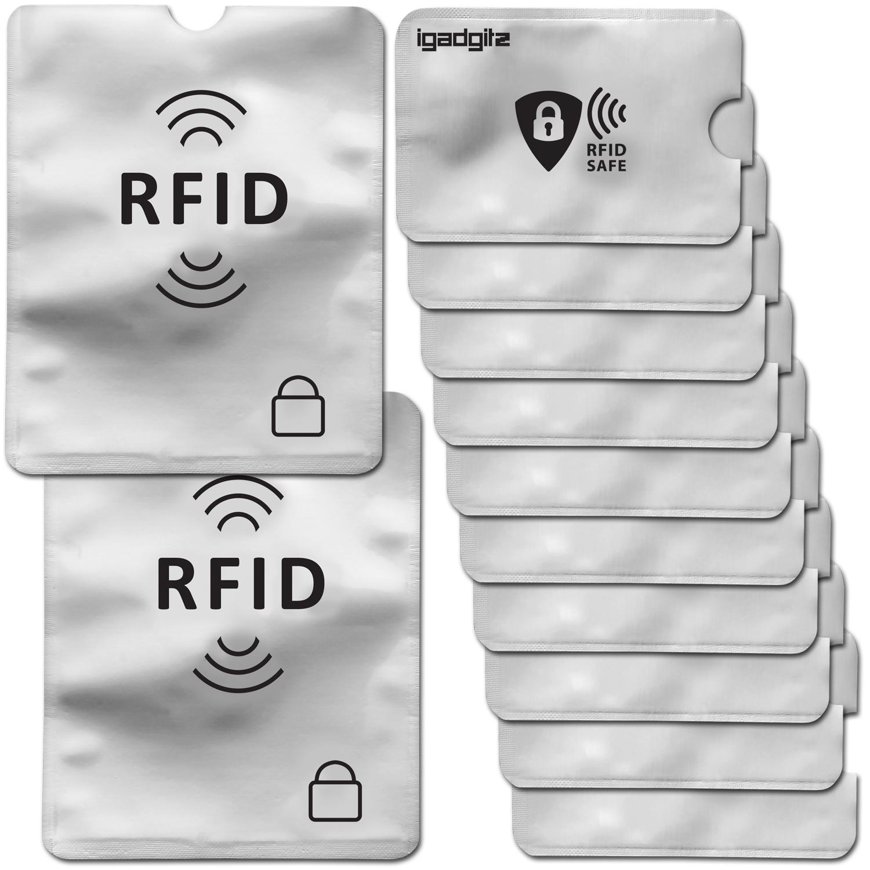 iGadgitz 12Pcs RFID Blocking Sleeves Secure Identity Theft Travel Card Protectors ? (10 Credit Card 2 Passport Holders)
