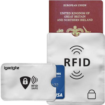 iGadgitz 12Pcs RFID Blocking Sleeves Secure Identity Theft Travel Card Protectors ? (10 Credit Card 2 Passport Holders) Thumbnail 2