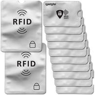 iGadgitz 12Pcs RFID Blocking Sleeves Secure Identity Theft Travel Card Protectors ? (10 Credit Card 2 Passport Holders)