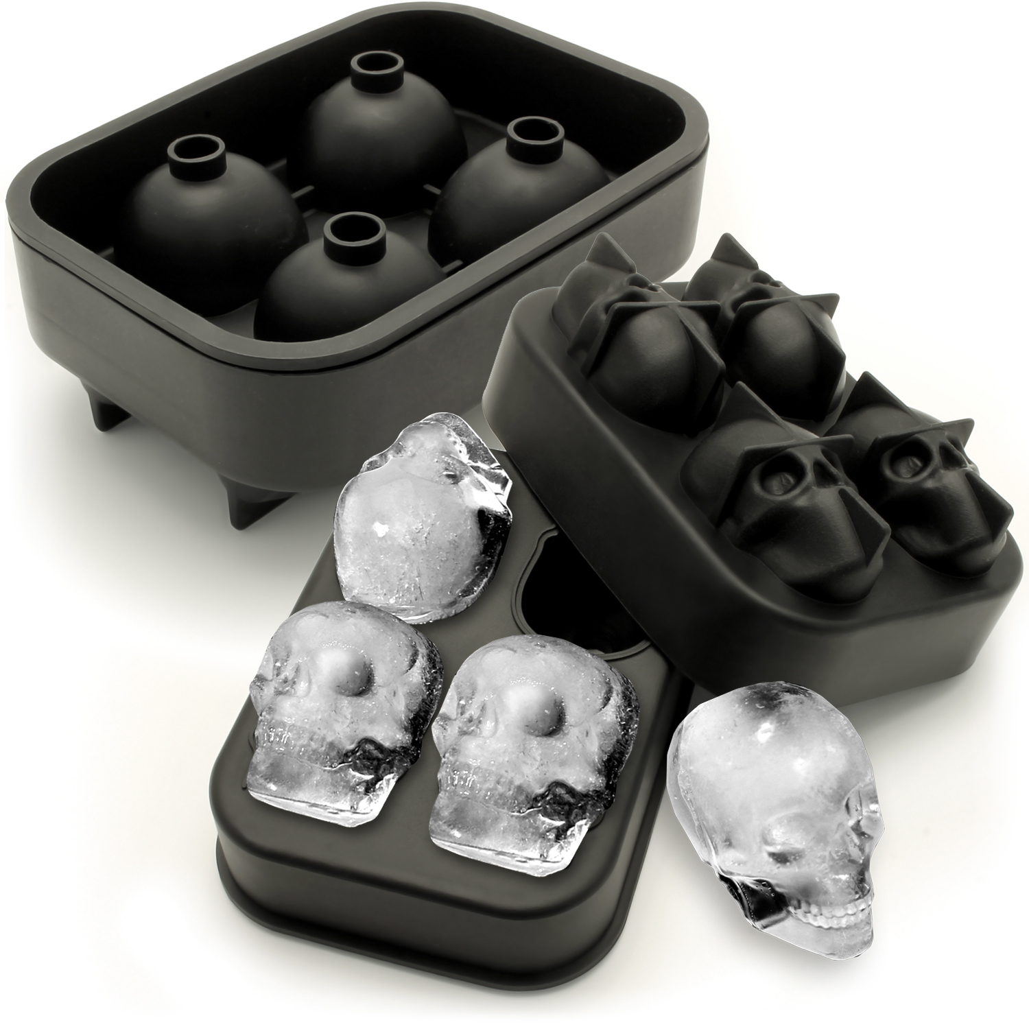 iGadgitz Home Silicone Skull Ice Cube Tray Food Grade Ice Skulls Mould Maker for Cocktail, Whiskey, Liquor etc