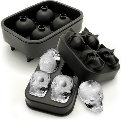 iGadgitz Home Silicone Skull Ice Cube Tray Food Grade Ice Skulls Mould Maker for Cocktail, Whiskey, Liquor etc Thumbnail 1
