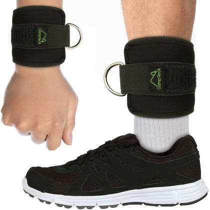 CampTeck D-Ring Ankle & Wrist Cuffs Neoprene Adjustable Strap for Gym Cable Machine Workouts - Black, 1 Pair Thumbnail 2