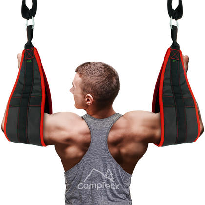 CampTeck Ab Straps Padded Hanging Ab Slings with Carabiner for Abdominal Training, Abs Crunch, Leg Raises, Pull Up Thumbnail 2