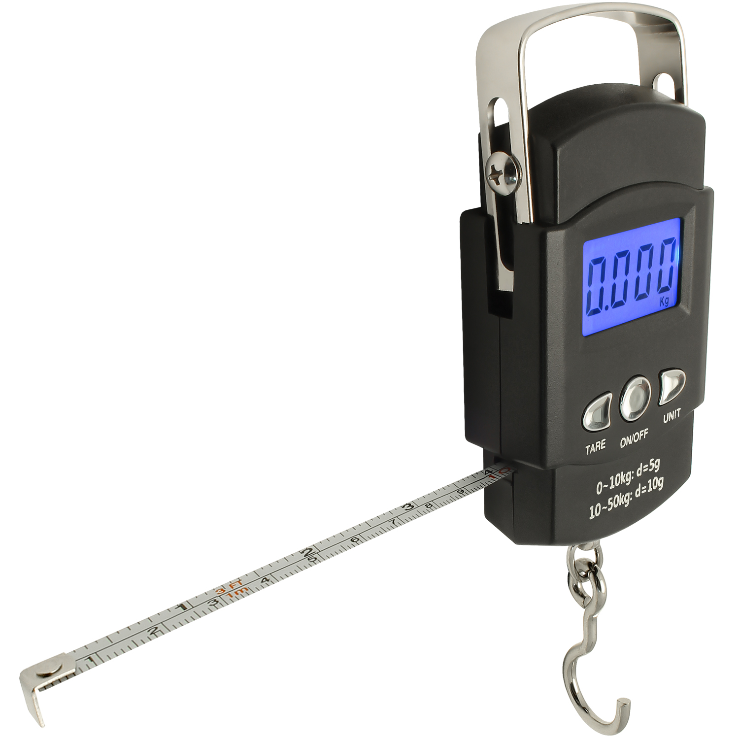 CampTeck Electronic Fish Luggage Postal Hanging Hook Weighing Scale (50kg/110lbs) with Digital Display & Measuring Tape