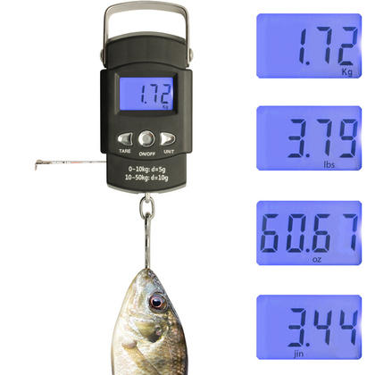 CampTeck Electronic Fish Luggage Postal Hanging Hook Weighing Scale (50kg/110lbs) with Digital Display & Measuring Tape Thumbnail 2