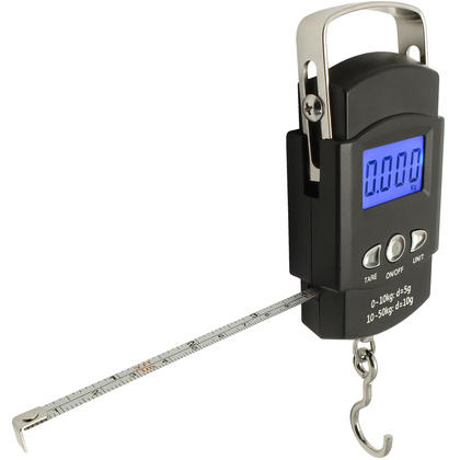 CampTeck Electronic Fish Luggage Postal Hanging Hook Weighing Scale (50kg/110lbs) with Digital Display & Measuring Tape Thumbnail 1