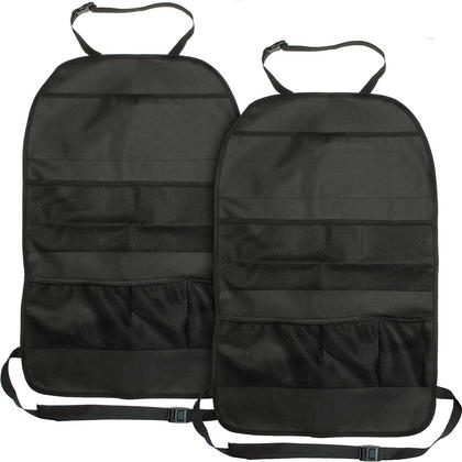 iGadgitz Car Seat Organiser Pockets Kick Mats Back Seat Travel Storage Stain Protector for Kids, Toddlers, Children - X2 Thumbnail 1
