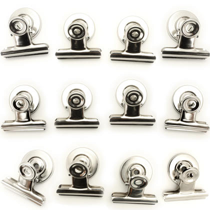 iGadgitz Home U6841 Fridge Magnet Clips (12 Clips) Magnetic Bulldog Clips for Memos, Photos, Coupons, Tickets - Silver Thumbnail 1