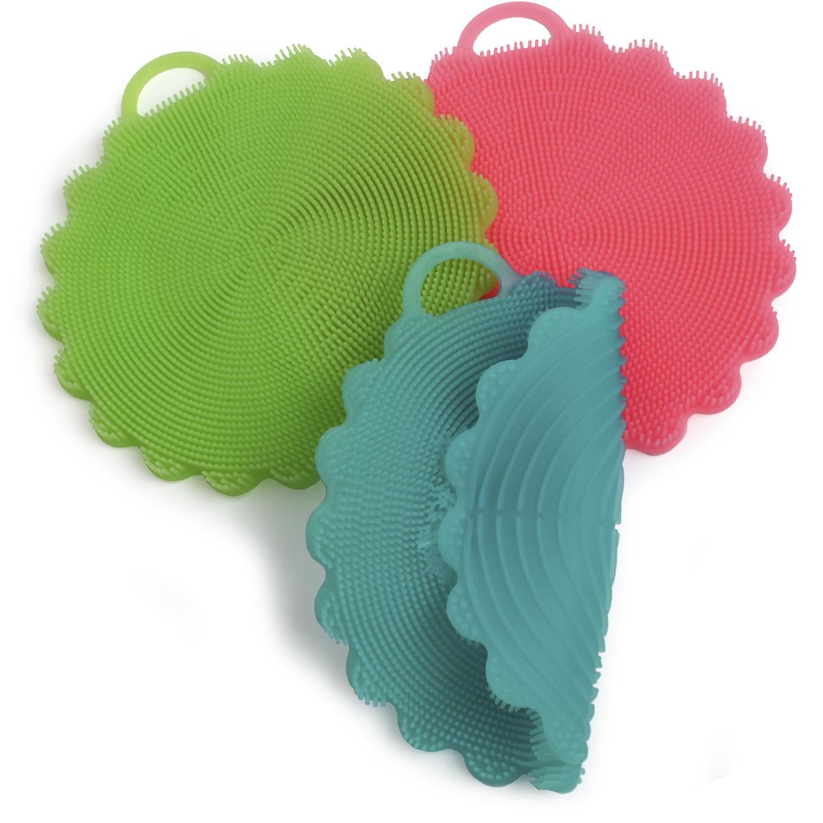 iGadgitz Home U6884 ? BPA Free Silicone Multipurpose Scrubber Sponge Brush Cloth Towel Dishes Kitchen Cleaning