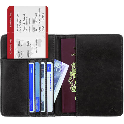 CampTeck PU Leather Passport Cover RFID Wallet  Holds Bank Cards, IDs, Driving Licence, Money, Tickets, and more Thumbnail 1