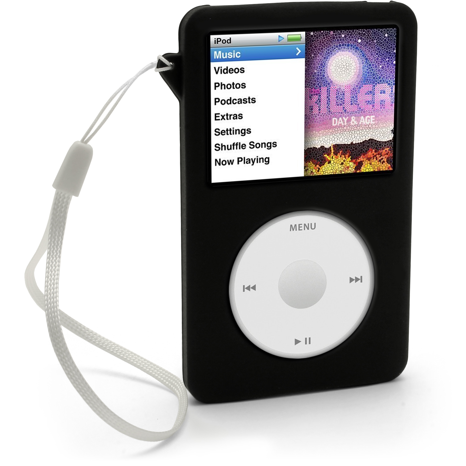 iGadgitz Black Silicone Skin Case for Apple iPod Classic 80gb, 120gb & latest 160gb + Screen Protector & Lanyard