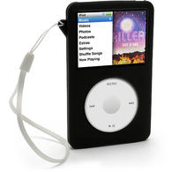 iGadgitz Black Armband & Silicone Skin for Apple iPod Classic 80gb, 120gb & latest 160gb + Screen Protector & Lanyard
