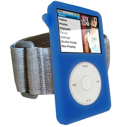 iGadgitz Blue Silicone Skin Case for Apple iPod Classic 80gb, 120gb & latest 160gb + Screen Protector & Lanyard Thumbnail 2