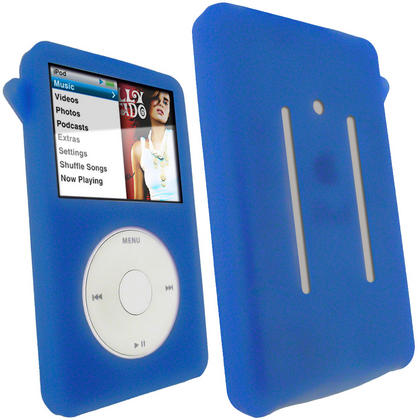 iGadgitz Blue Silicone Skin Case for Apple iPod Classic 80gb, 120gb & latest 160gb + Screen Protector & Lanyard Thumbnail 1