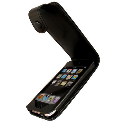 iGadgitz Black Genuine Leather Case for Apple iPod Touch 2nd & 3rd Gen + Belt Clip & Screen protector Thumbnail 1