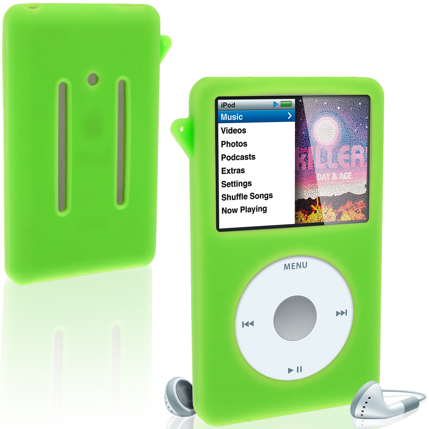 iGadgitz Green Silicone Skin Case for Apple iPod Classic 80gb, 120gb & latest 160gb + Screen Protector & Lanyard