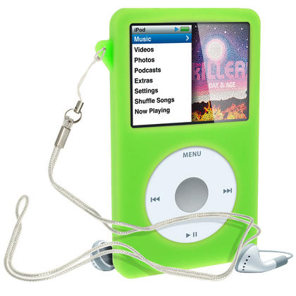 iGadgitz Green Silicone Skin Case for Apple iPod Classic 80gb, 120gb & latest 160gb + Screen Protector & Lanyard Thumbnail 2