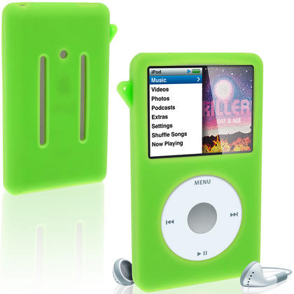 iGadgitz Green Silicone Skin Case for Apple iPod Classic 80gb, 120gb & latest 160gb + Screen Protector & Lanyard Thumbnail 1