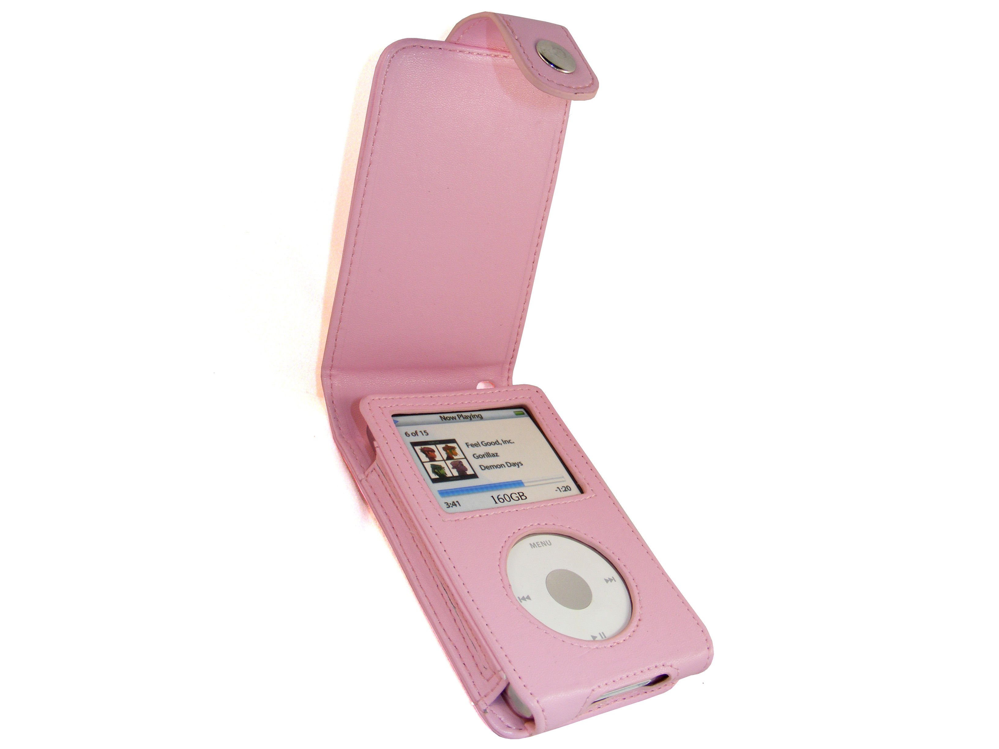 iGadgitz Pink PU Leather Case for Apple iPod Classic 80gb, 120gb & latest 160gb + Belt Clip & Screen Protector