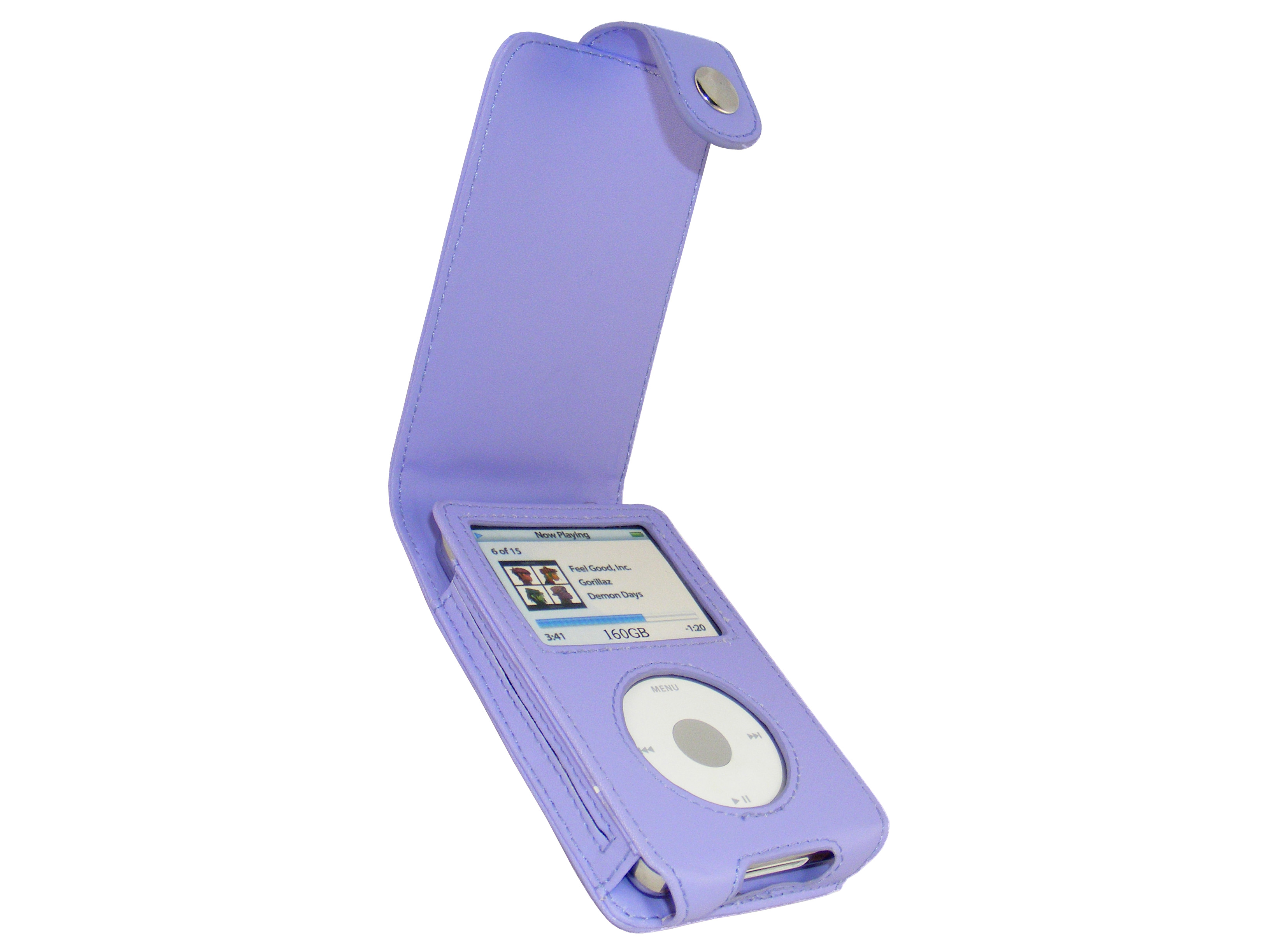 iGadgitz Purple PU Leather Case for Apple iPod Classic 80gb, 120gb & latest 160gb + Belt Clip & Screen Protector