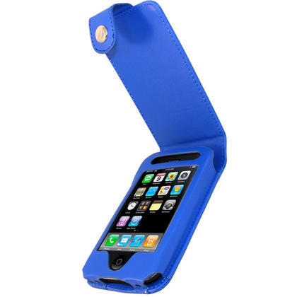 iGadgitz Blue Leather Case Cover for Apple iPhone 3G & 3GS 8gb, 16gb & 32gb + Screen Protector + Detachable Belt-Clip Thumbnail 1