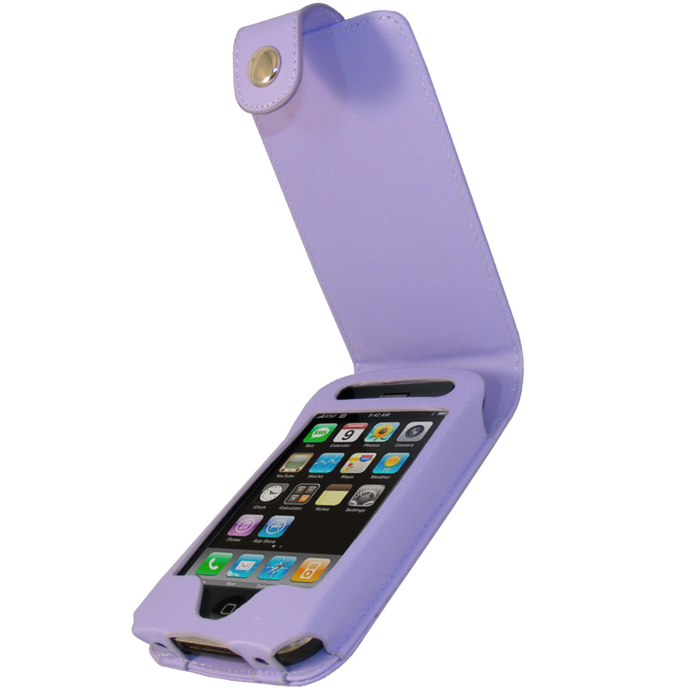 iGadgitz Purple Leather Case Cover for Apple iPhone 3G & 3GS 8gb, 16gb & 32gb + Screen Protector + Detachable Belt-Clip