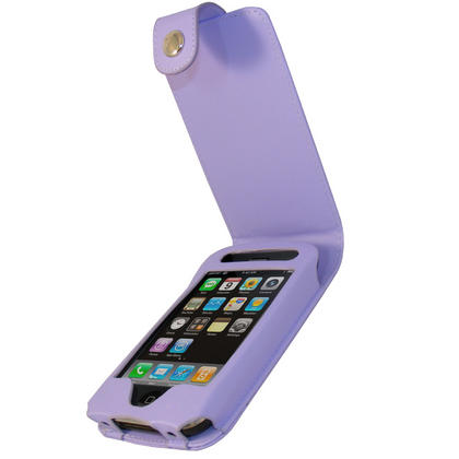 iGadgitz Purple Leather Case Cover for Apple iPhone 3G & 3GS 8gb, 16gb & 32gb + Screen Protector + Detachable Belt-Clip Thumbnail 1